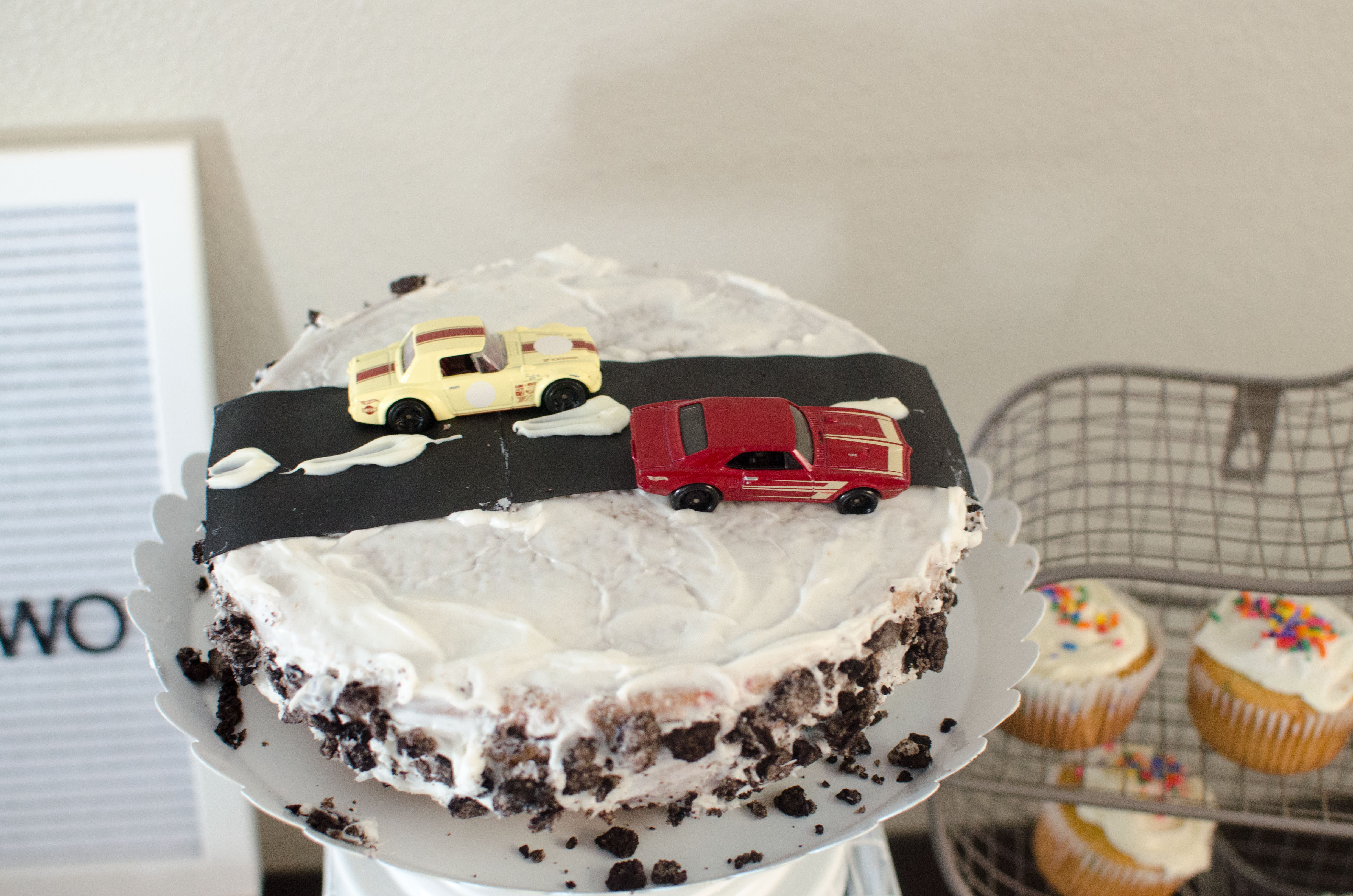 Toddler Birthday Party Race Car Themed Cake